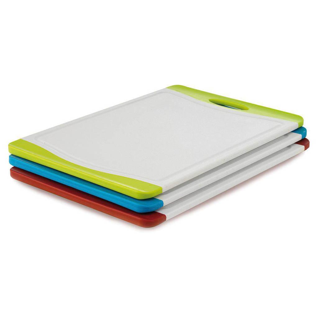 BK 3-delige snijplankenset, wit/rood/blauw/geel