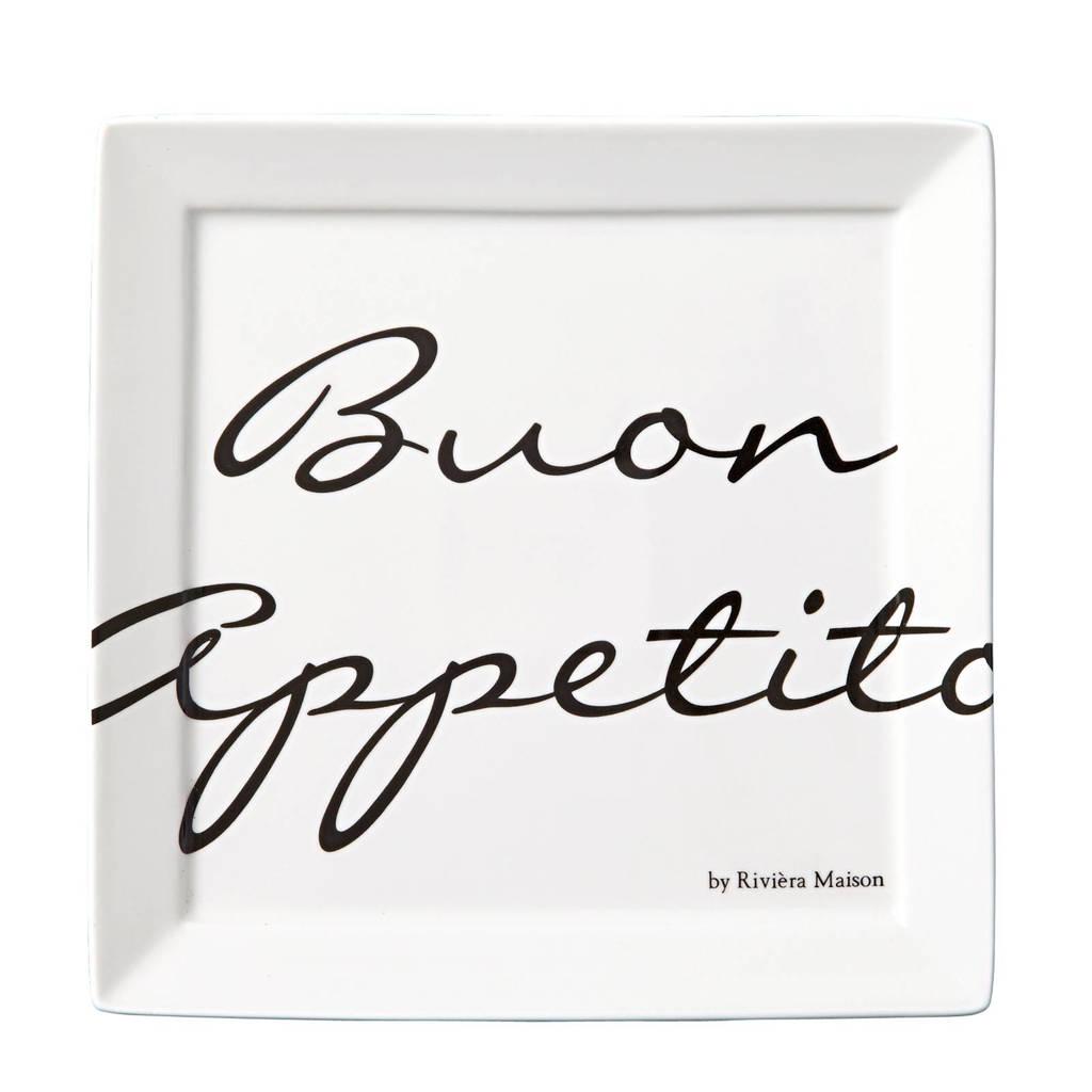 Riviera Maison gebaksbord Buon Appetito (Ø18 cm) (set van 2), Wit