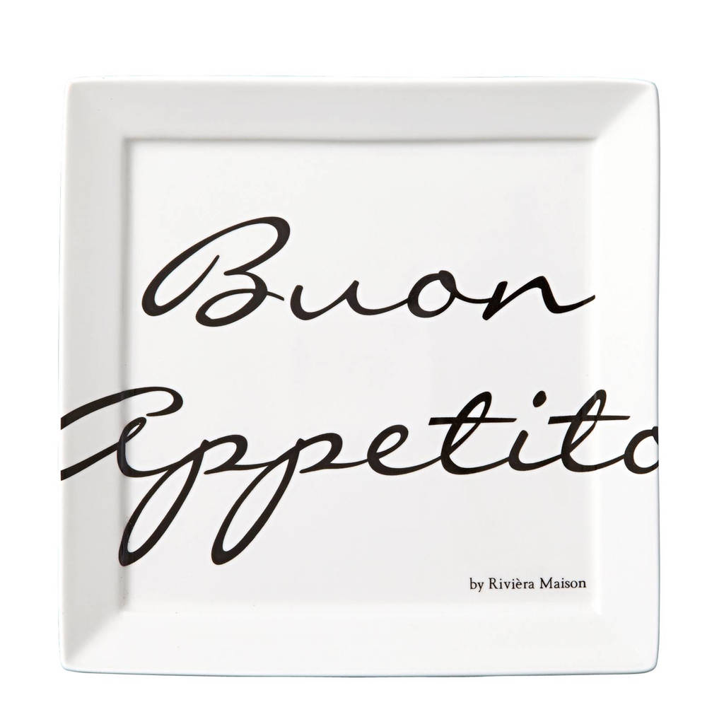 Riviera Maison gebaksbord Buon Appetito (Ø18 cm), Wit