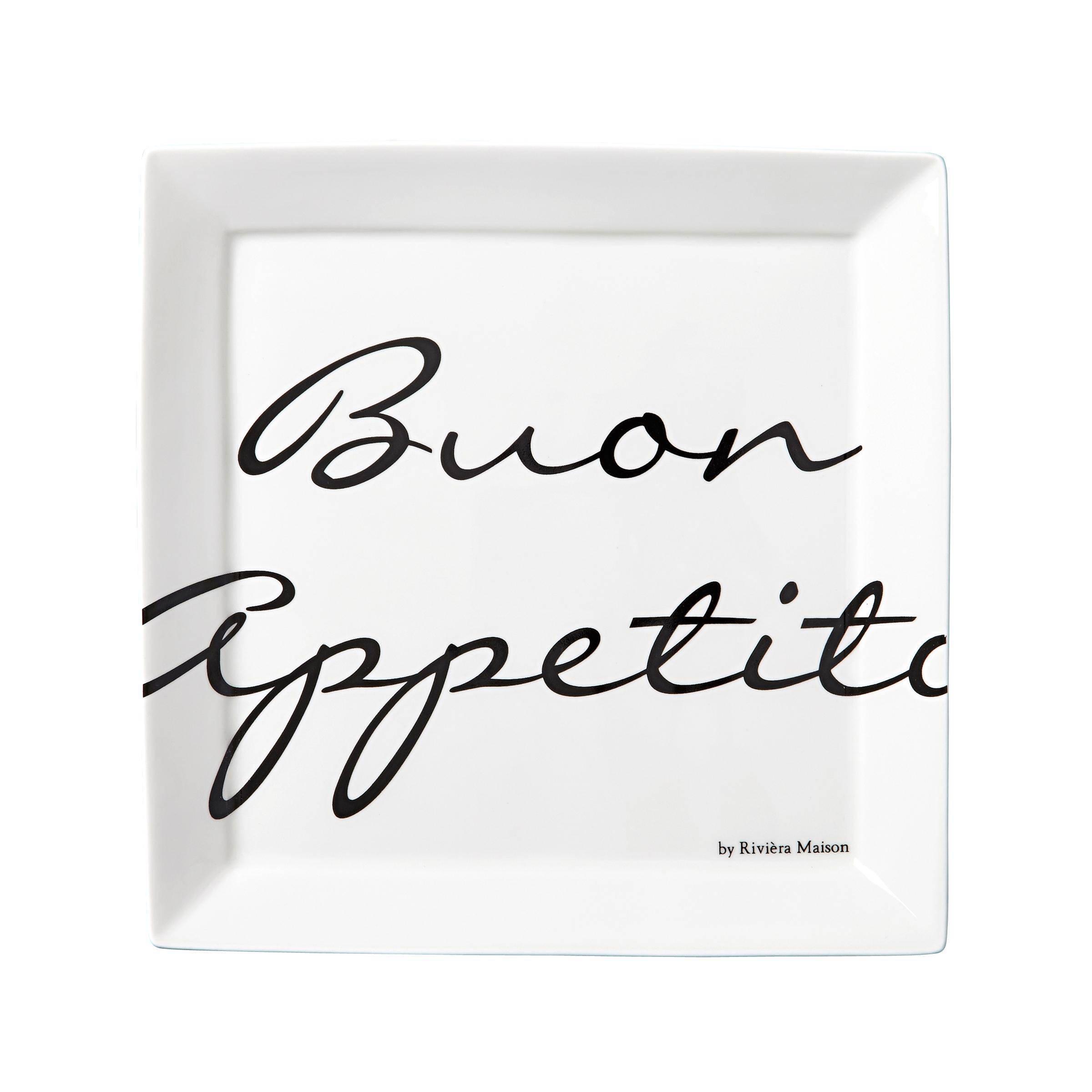 Bedwelming Riviera Maison ontbijtbord Buon Appetito (Ø22 cm) (set van 2 @LF68
