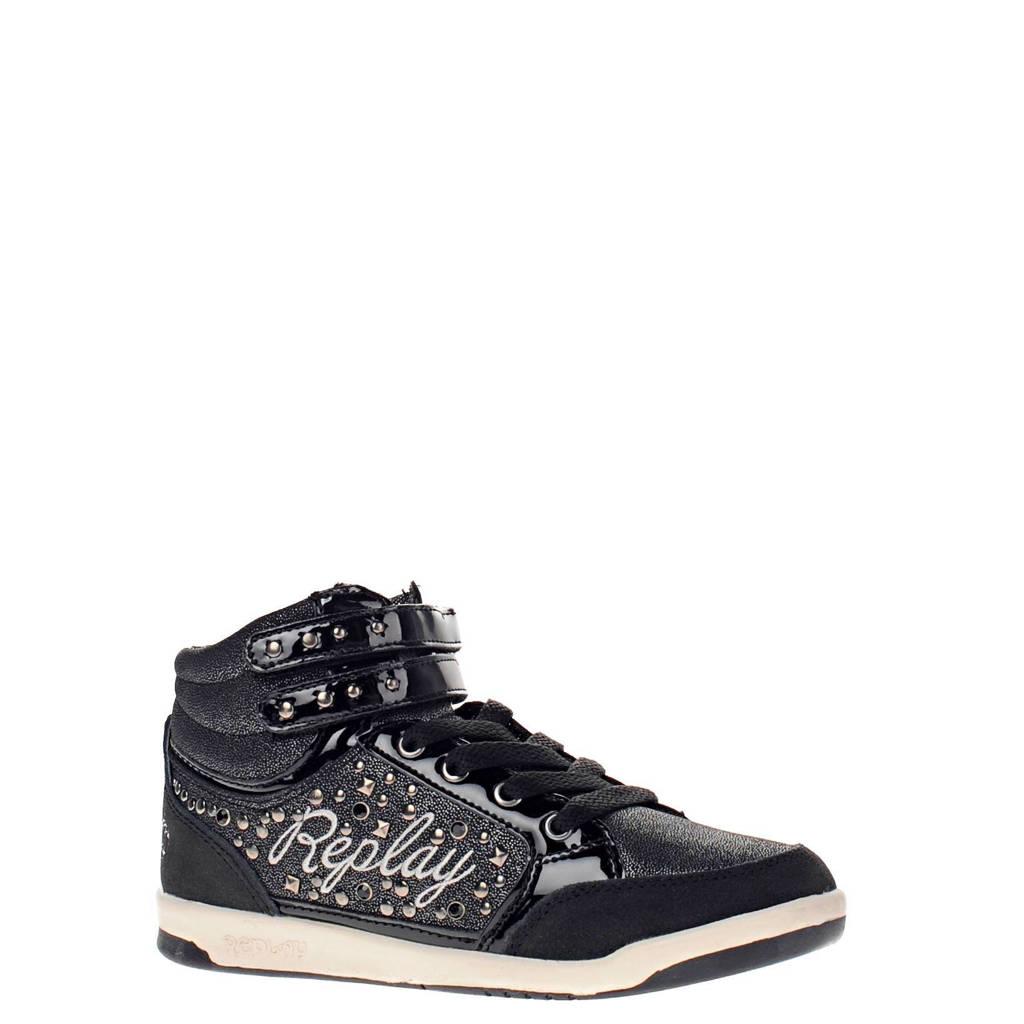 345fa0de5b2 REPLAY leren sneakers meisjes | wehkamp