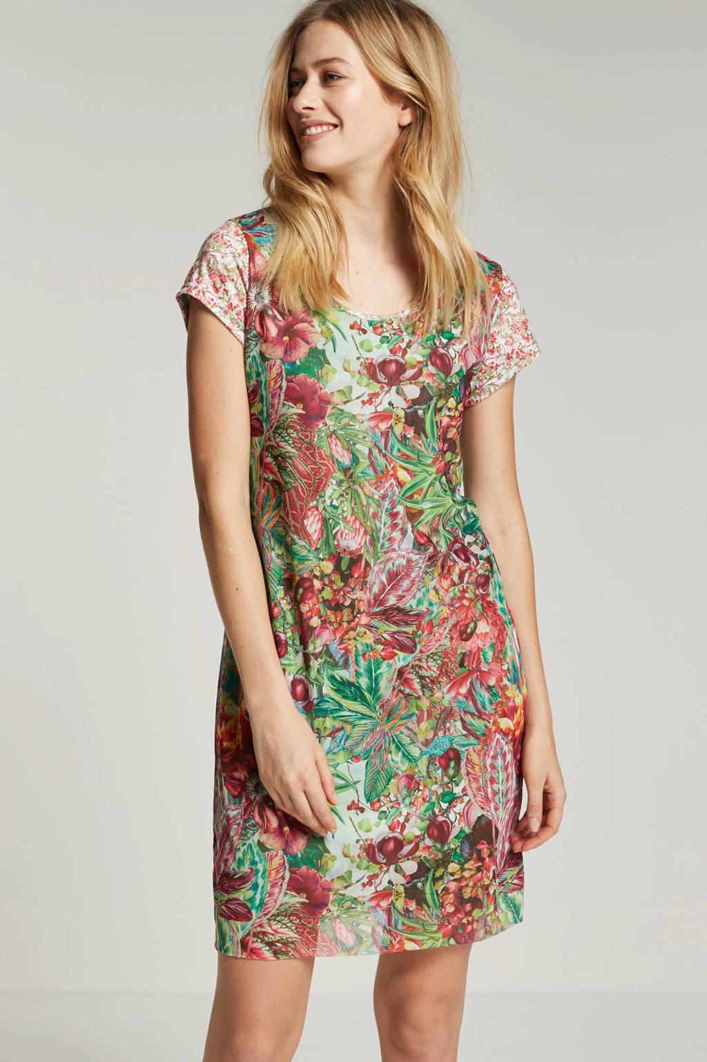 Smash Ofelia bloemen jurk, Groen/roze