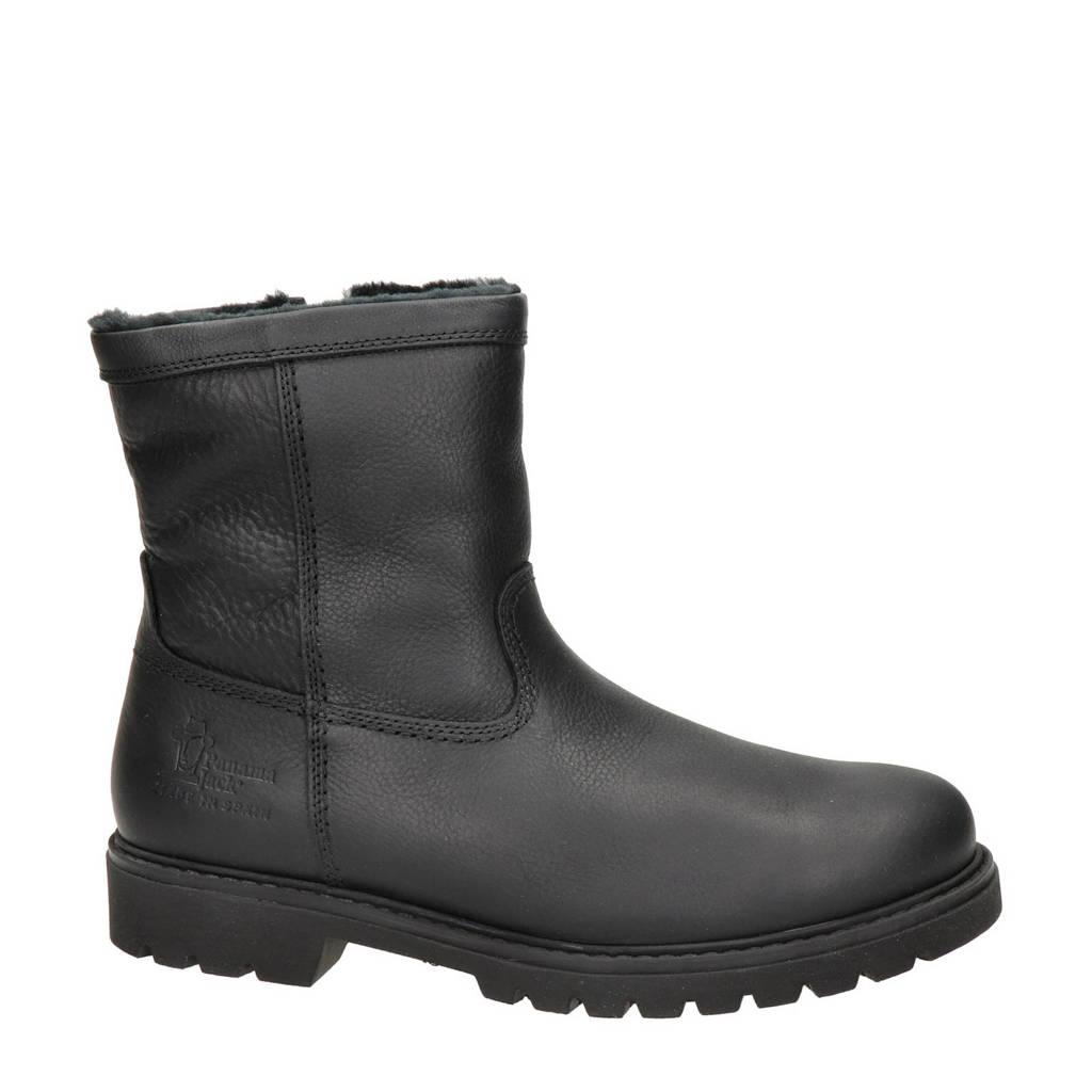 Panama Jack   warm gevoerde leren laarzen zwart, Zwart