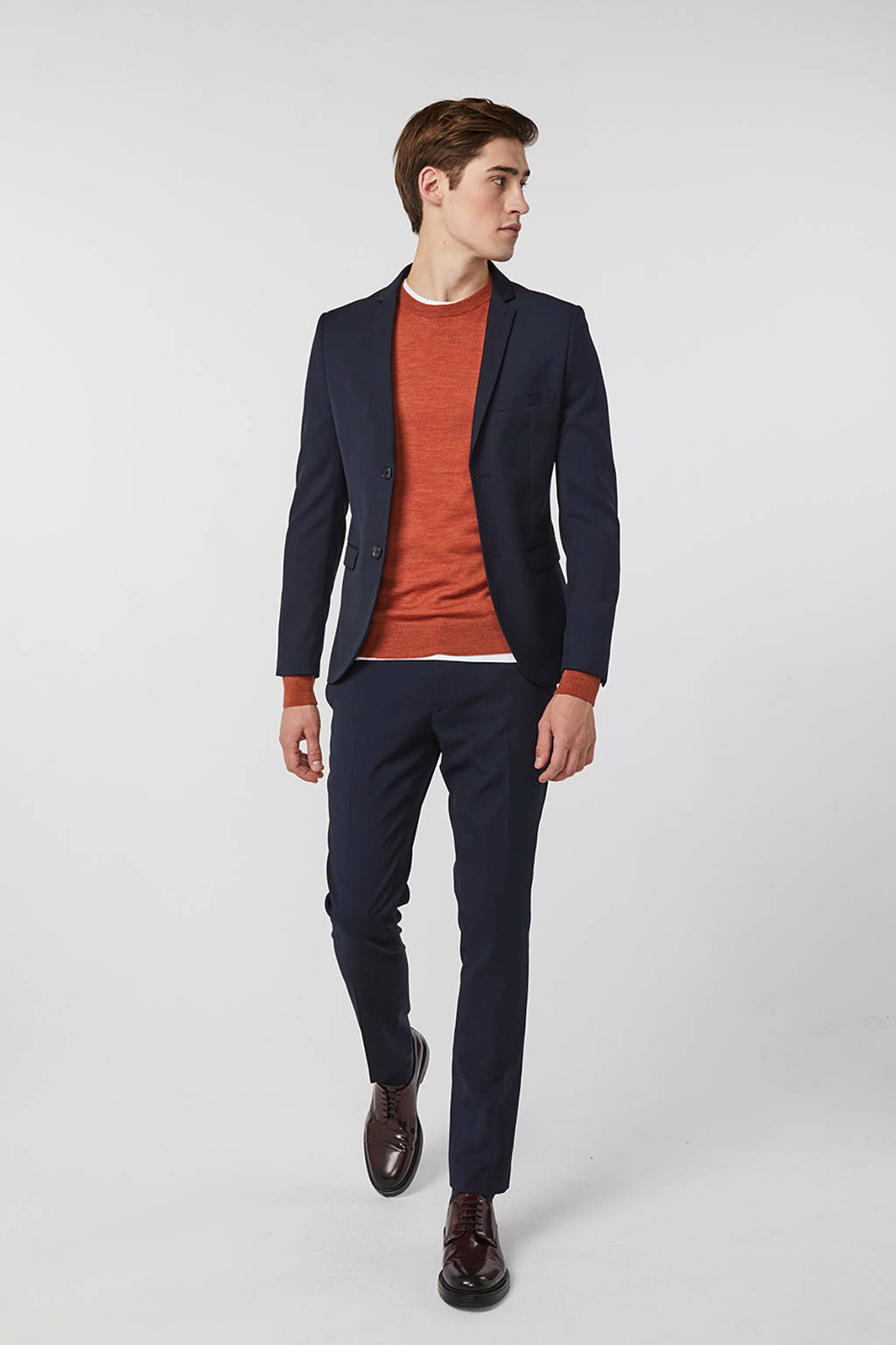 WE Fashion skinny fit colbert donkerblauw, Donkerblauw