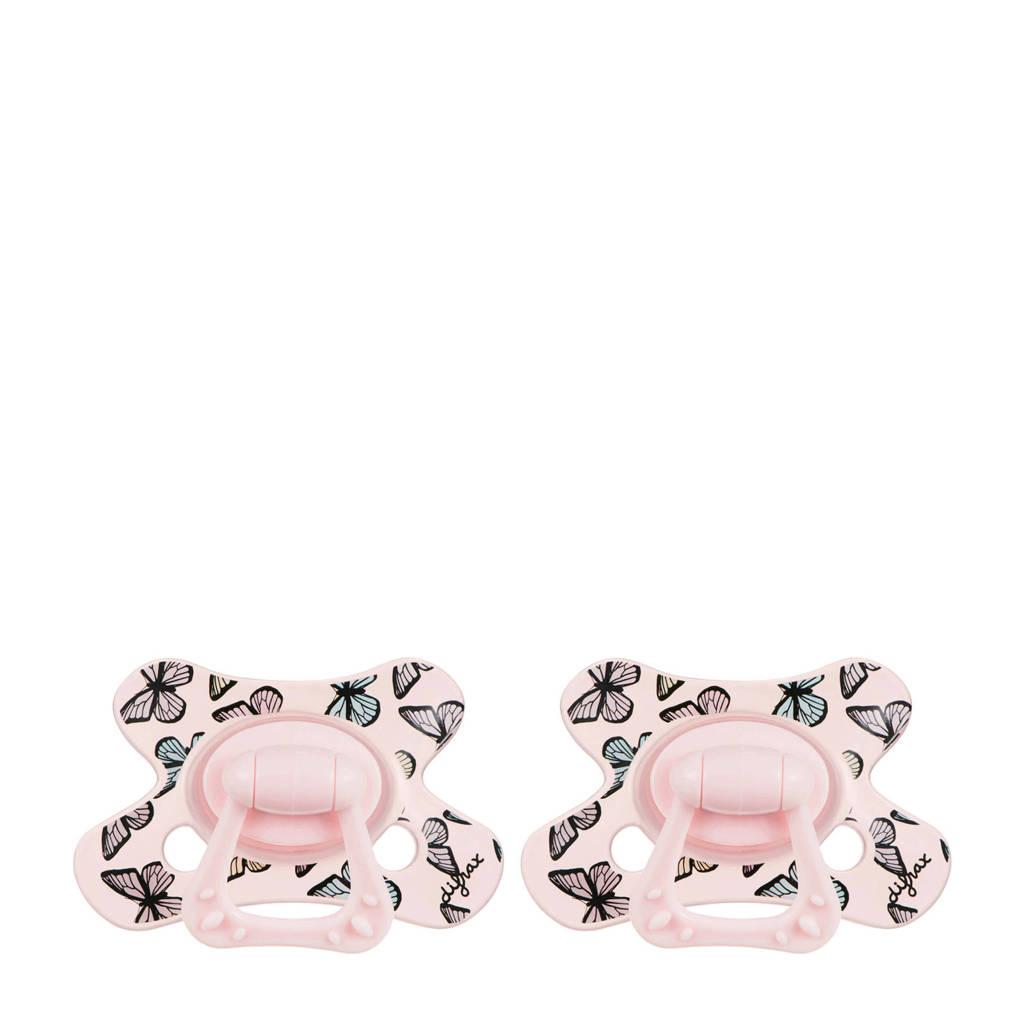 Difrax Dental fopspeen 6+ mnd (2 stuks) roze, Roze