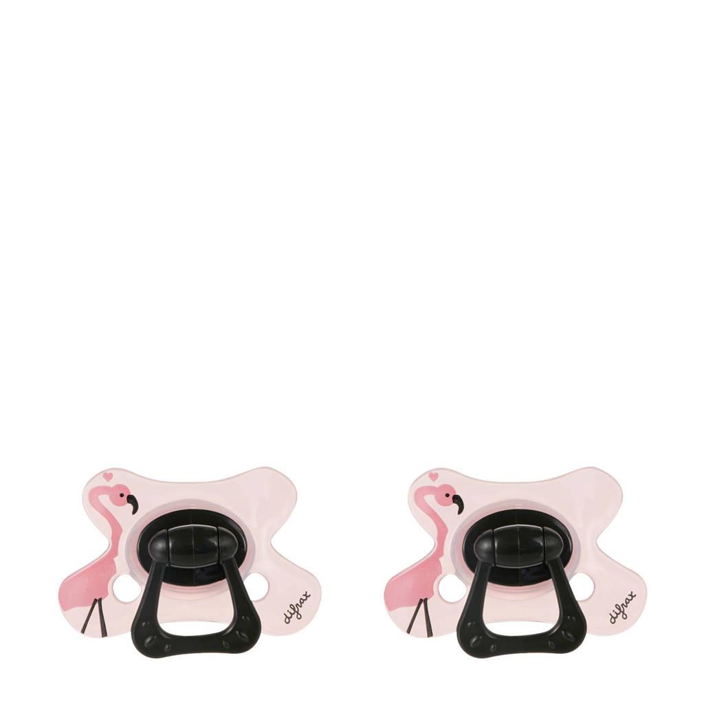 Difrax Dental fopspeen 18+ mnd (2 stuks) roze, Roze