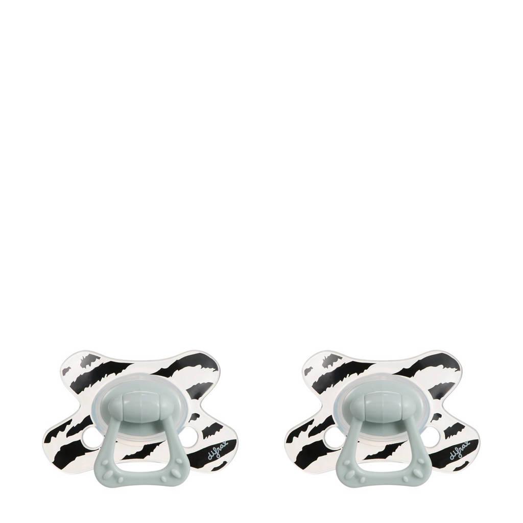 Difrax Natural fopspeen dierenprint 18+ mnd (2 stuks) Rory
