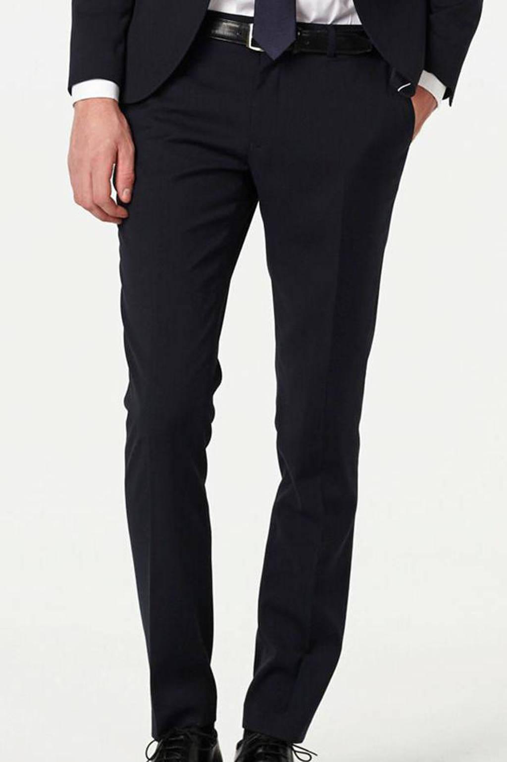 WE Fashion slim fit pantalon donkerblauw, Donkerblauw