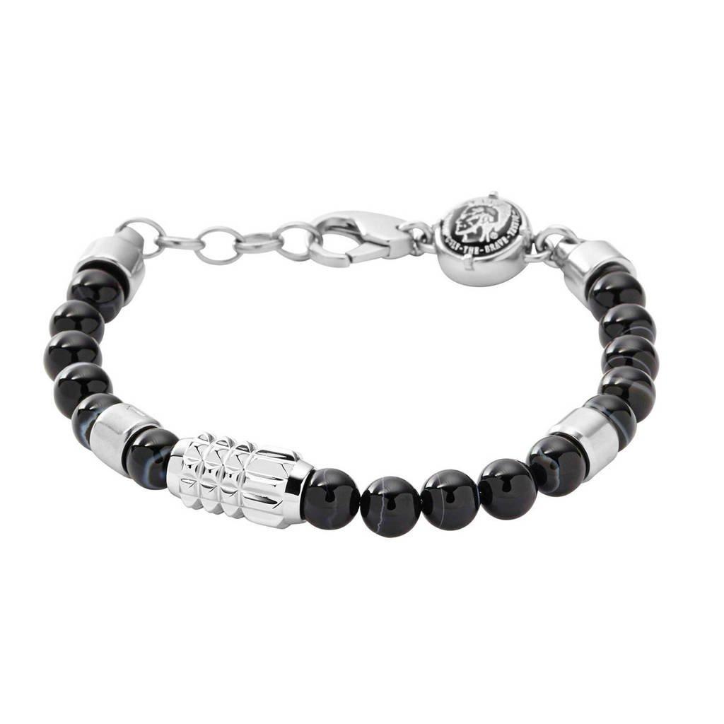 Diesel Beads Heren Armband DX0847040, Zwart, zilver