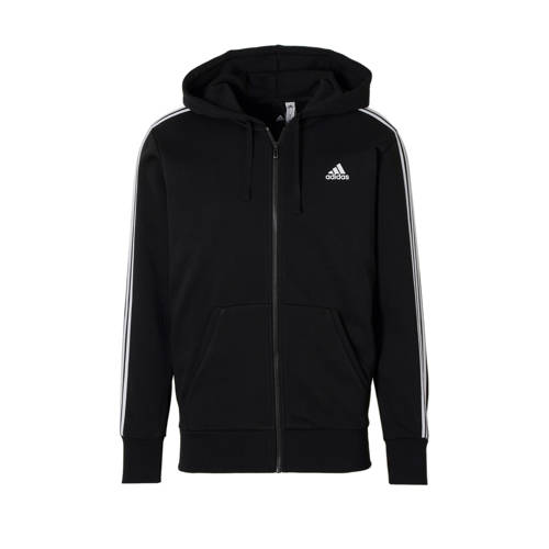 Adidas Essentials 3 Stripes Full-Zip men's training hoodie (black-white) S