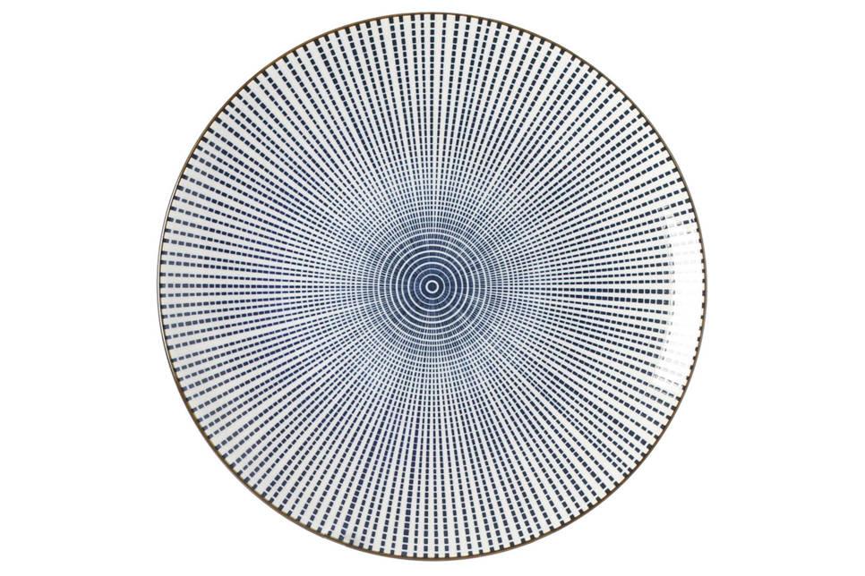 Riverdale Stripes dinerbord (Ø26 cm) , Blauw/wit