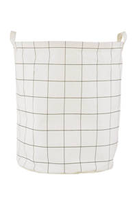 House Doctor mand Squares (60 liter), Crème/zwart