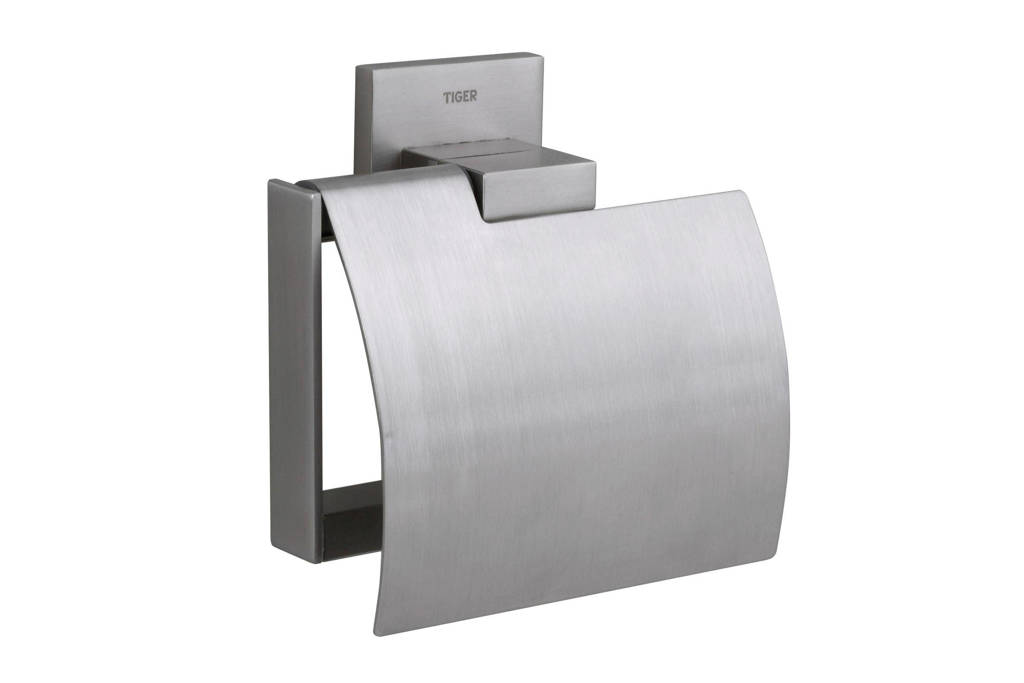Tiger Items toiletrolhouder met klep  zilver, Zilver