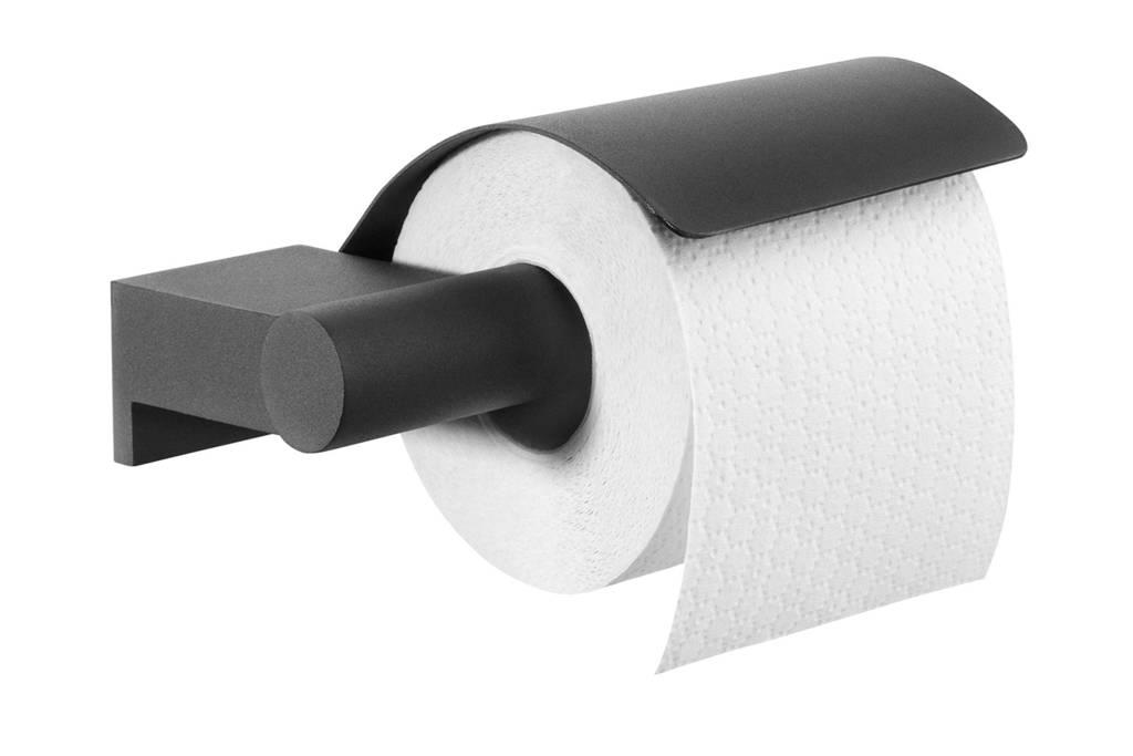 Tiger Bold toiletrolhouder met klep, Zwart