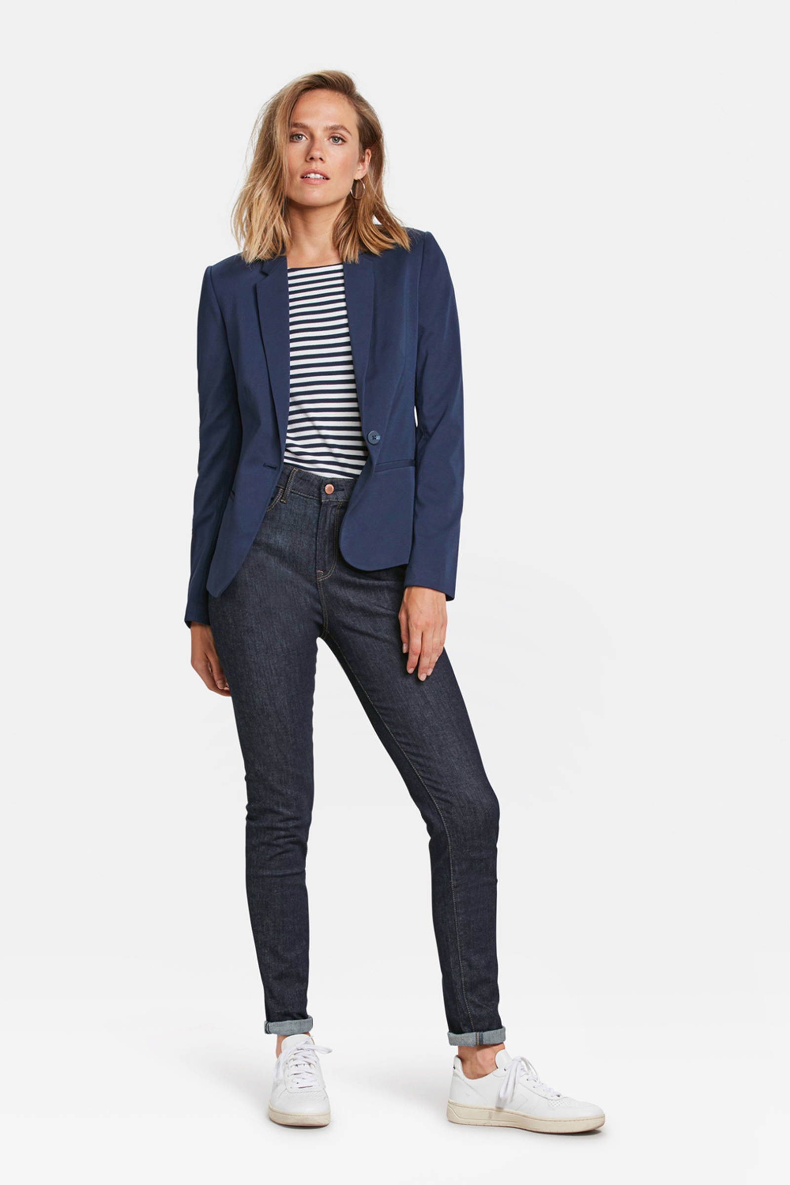 WE Fashion jersey blazer donkerblauw | wehkamp