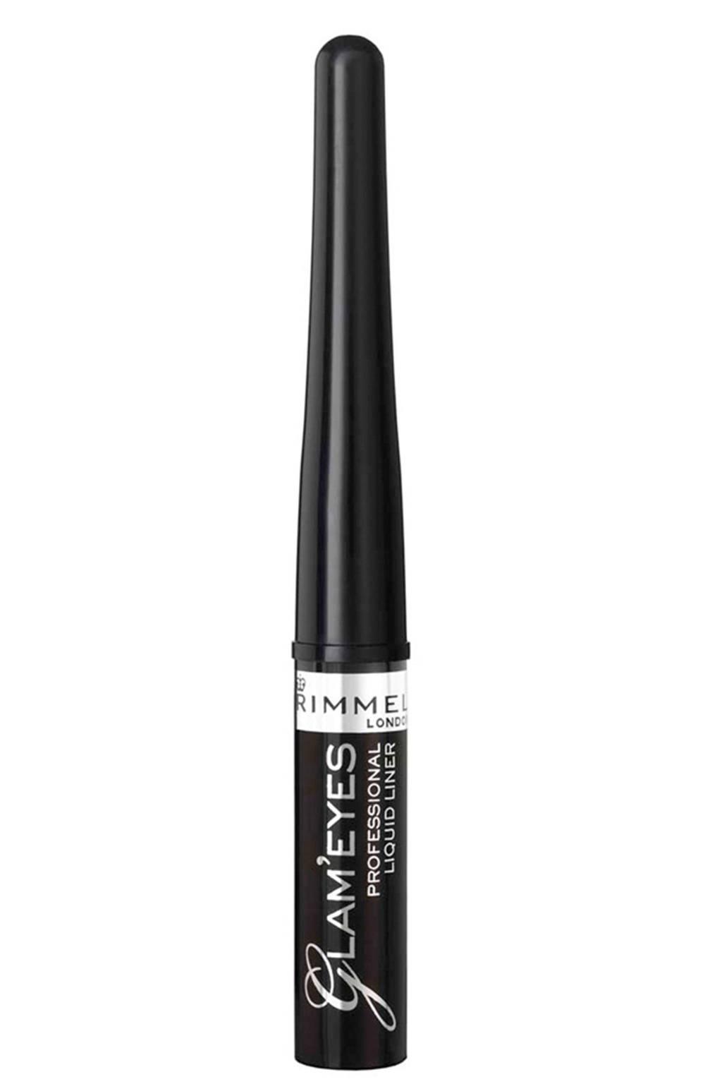Rimmel London Glam'Eyes Professional Liquid Eyeliner - Black Glamour, Zwart