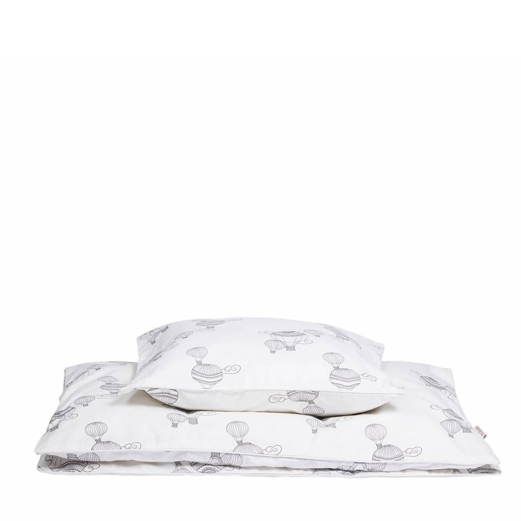 Filibabba dekbedovertrek 100x140 cm wit/grijs, Wit/grijs