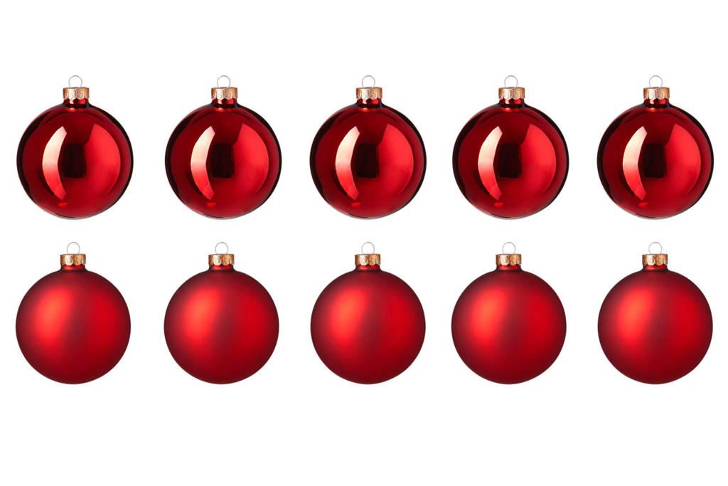 Decoris Glazen kerstballen (Ø6 cm) (set van 10), Rood