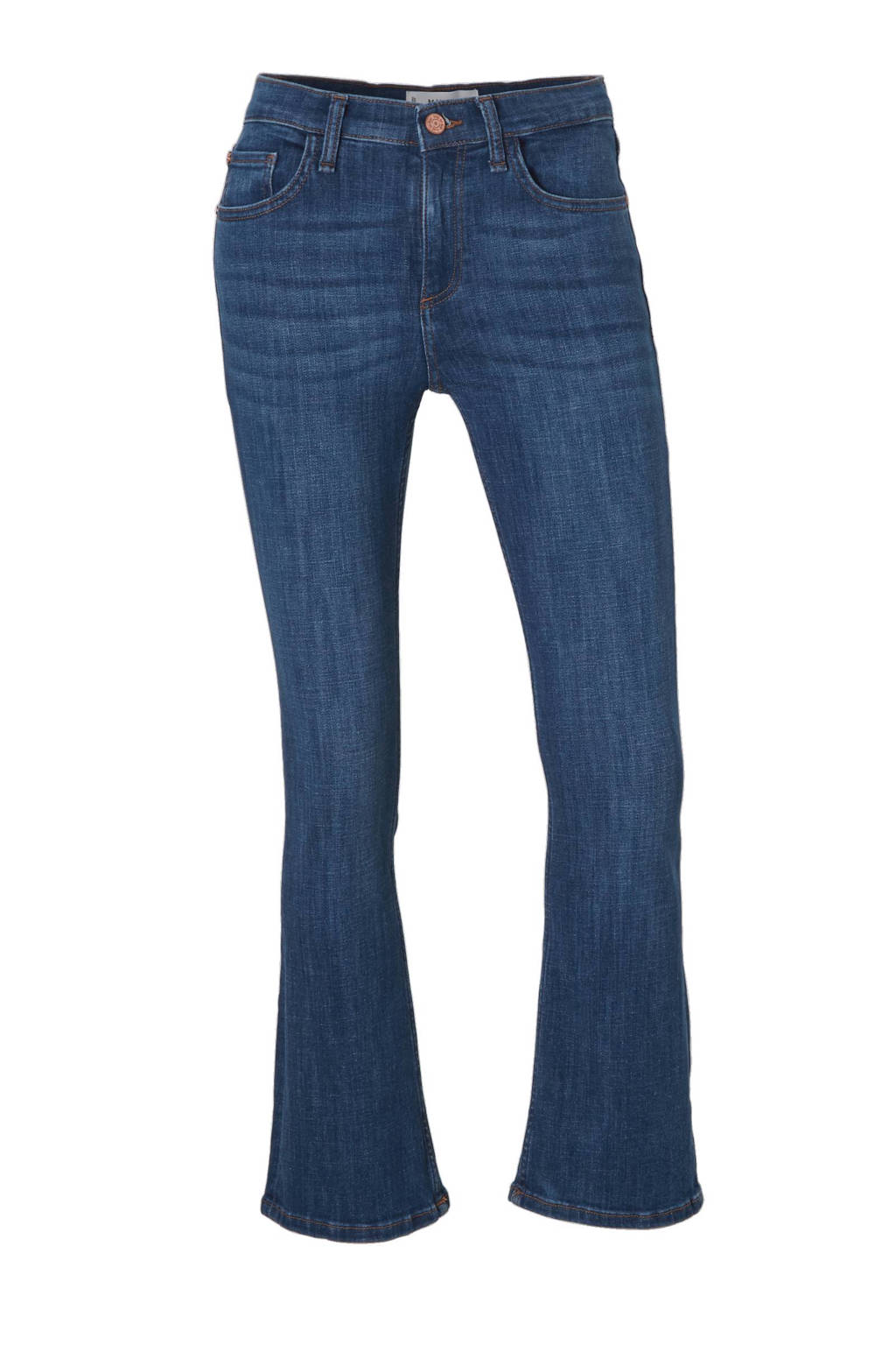 Mango cropped flared fit jeans, Denimblauw