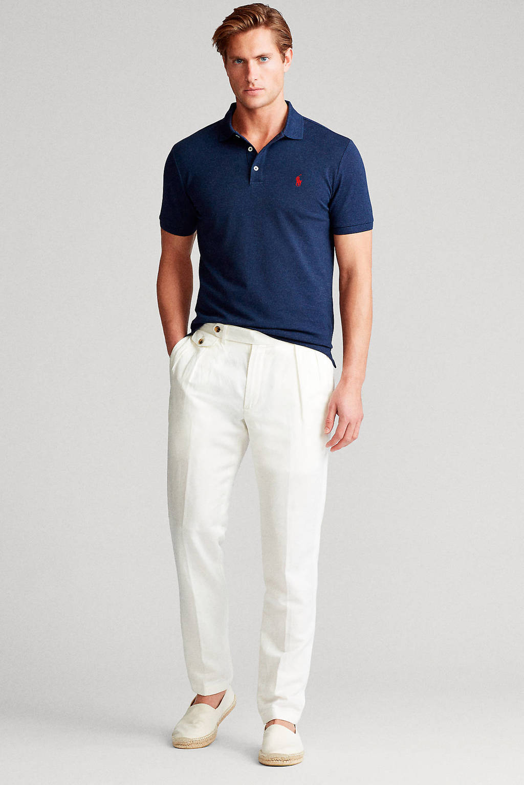 POLO Ralph Lauren slim fit stretch polo, Donkerblauw
