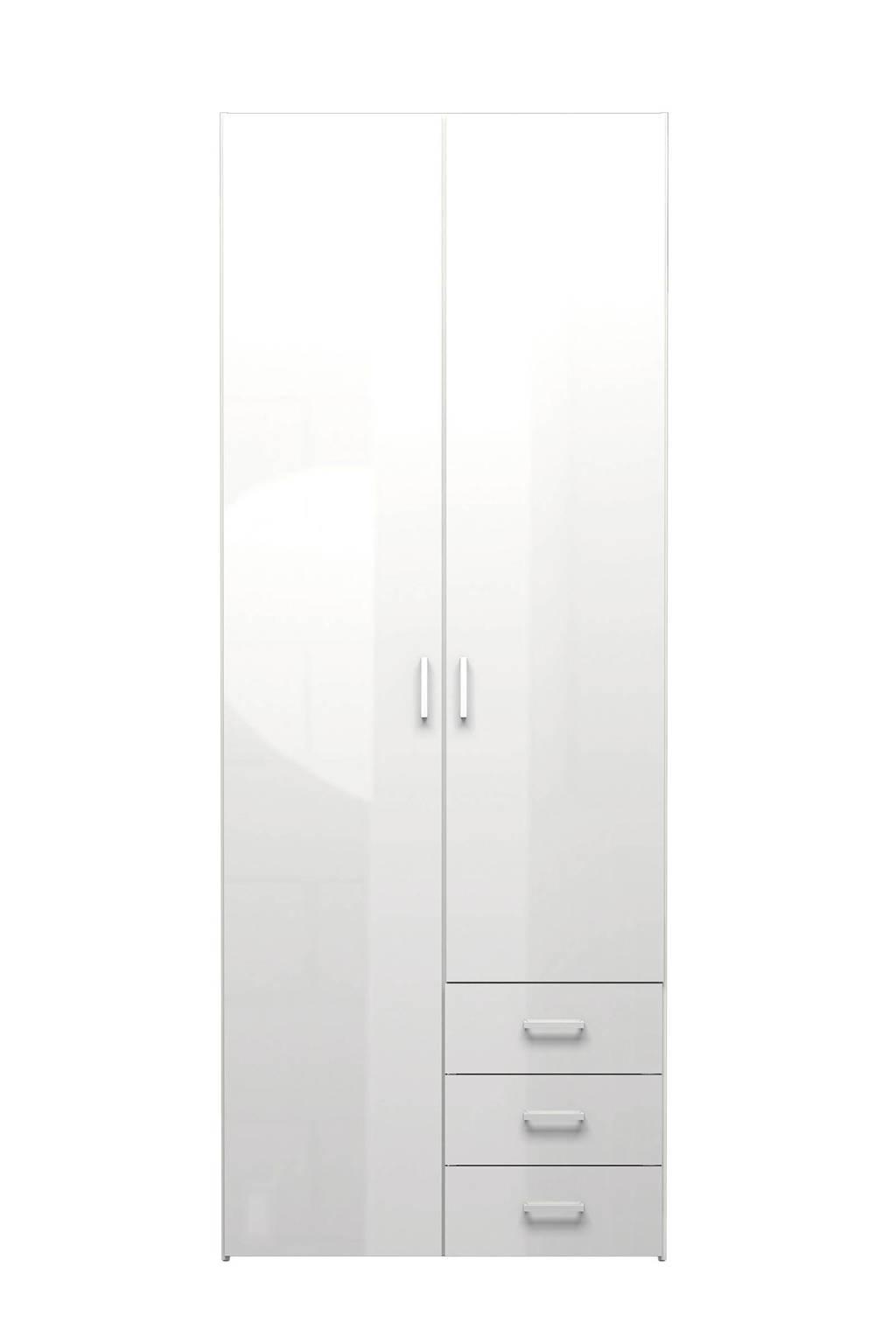 W 2-deurs kledingkast Space, Hoogglans wit