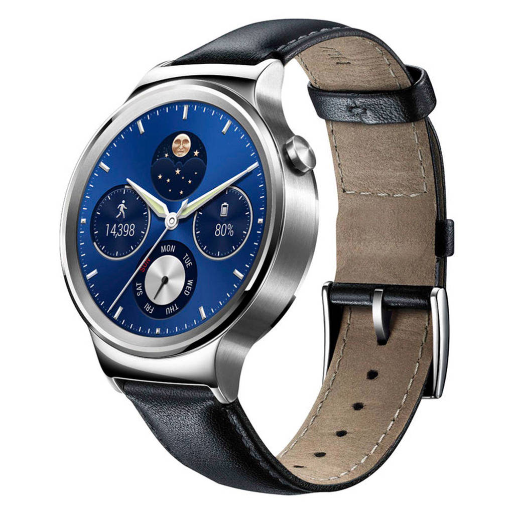 Huawei Watch Classic smartwatch, Black leather band with almond tip