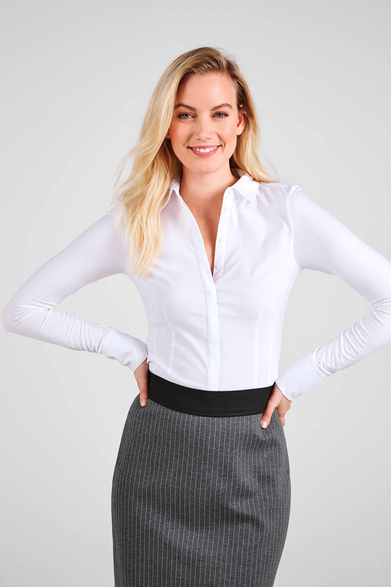 dames overhemd blouse wit