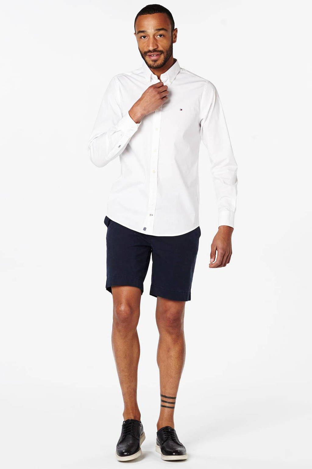 Tommy Hilfiger slim fit poplin overhemd wit, Wit
