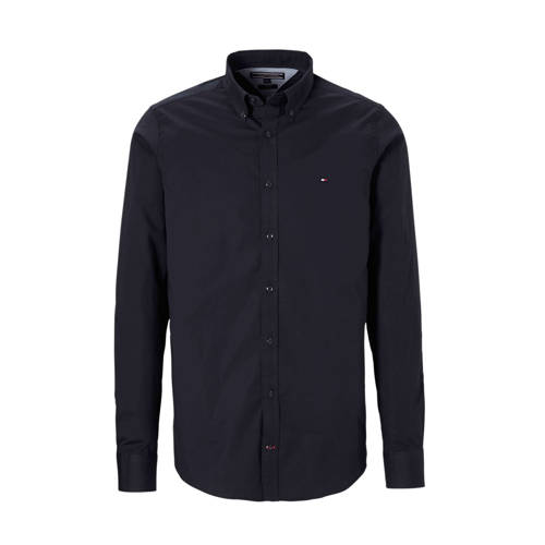 Tommy Hilfiger slim fit poplin overhemd donkerblauw