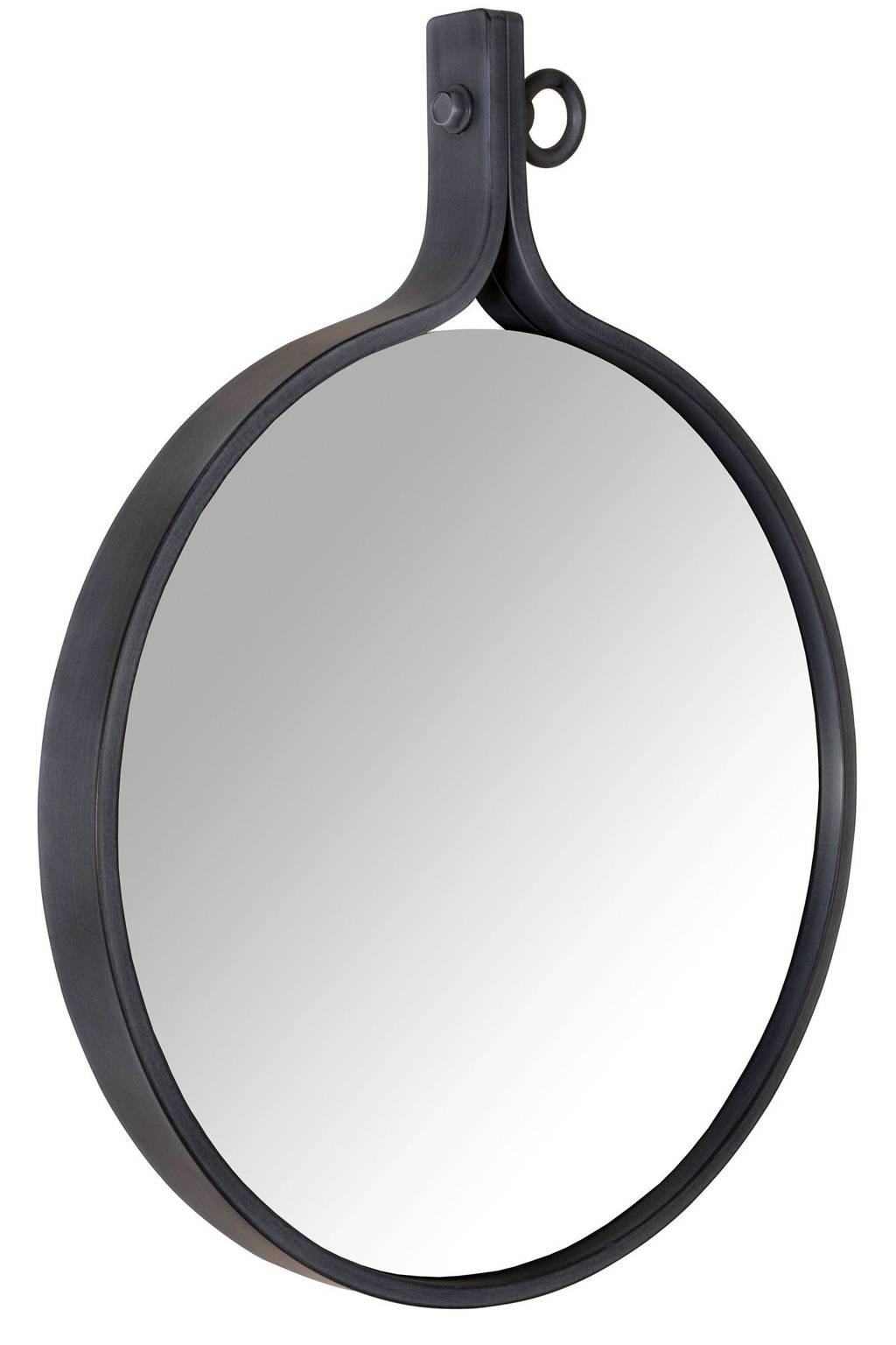 Dutchbone Attractif '16 spiegel (Ø41 cm), Zwart