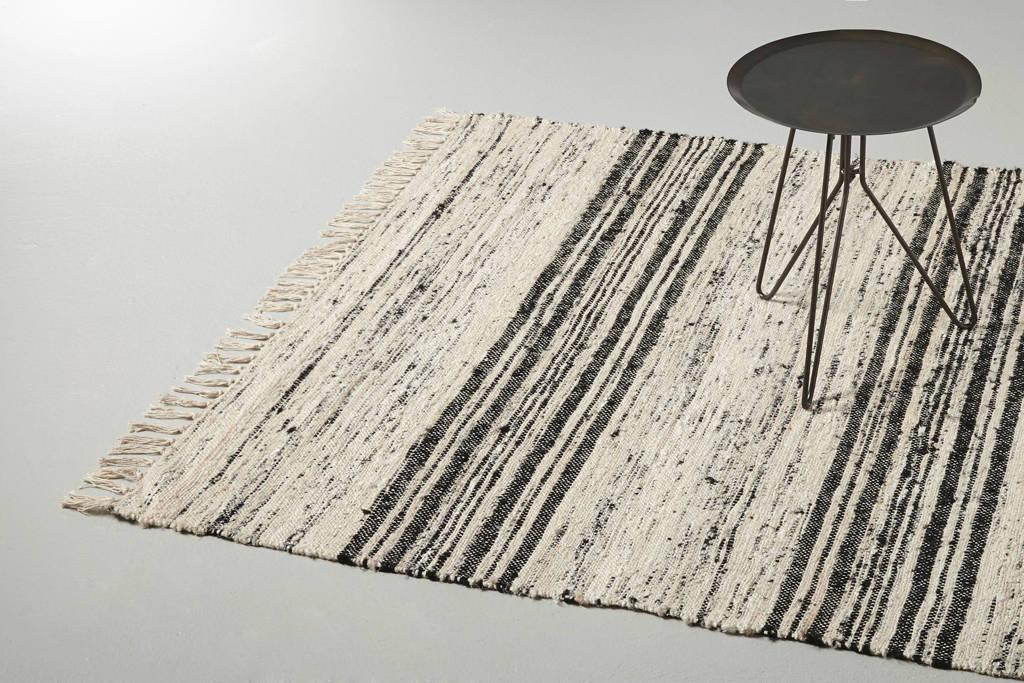 HKliving vloerkleed (gerecycled zijde)  (180x120 cm), Grijs/zwart
