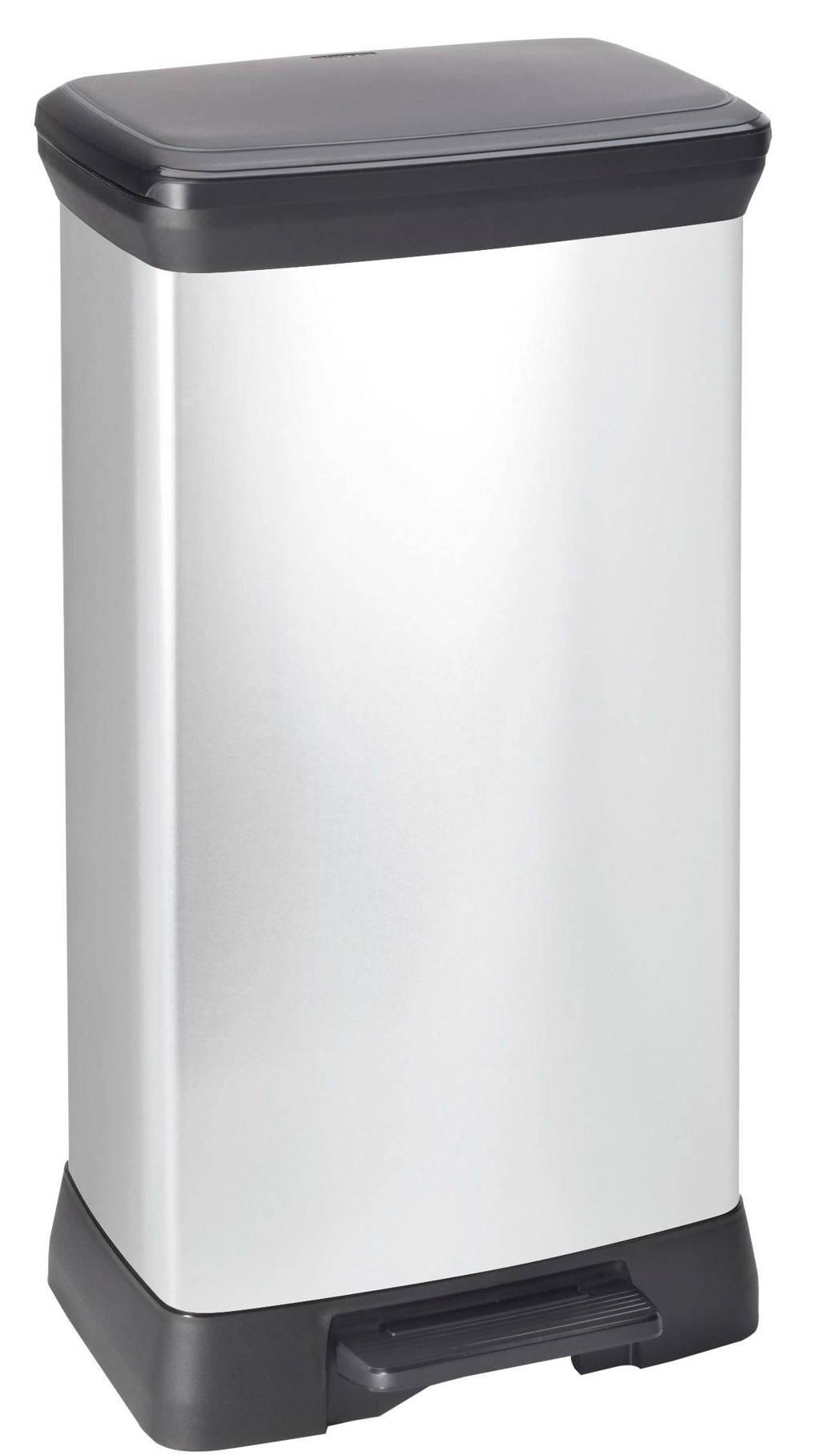 Curver Decobin 50 liter pedaalemmer, Zilver metallic/zwart