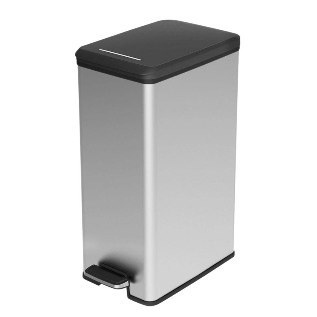 Curver Slimbin 40 liter pedaalemmer, Zilver metallic/zwart