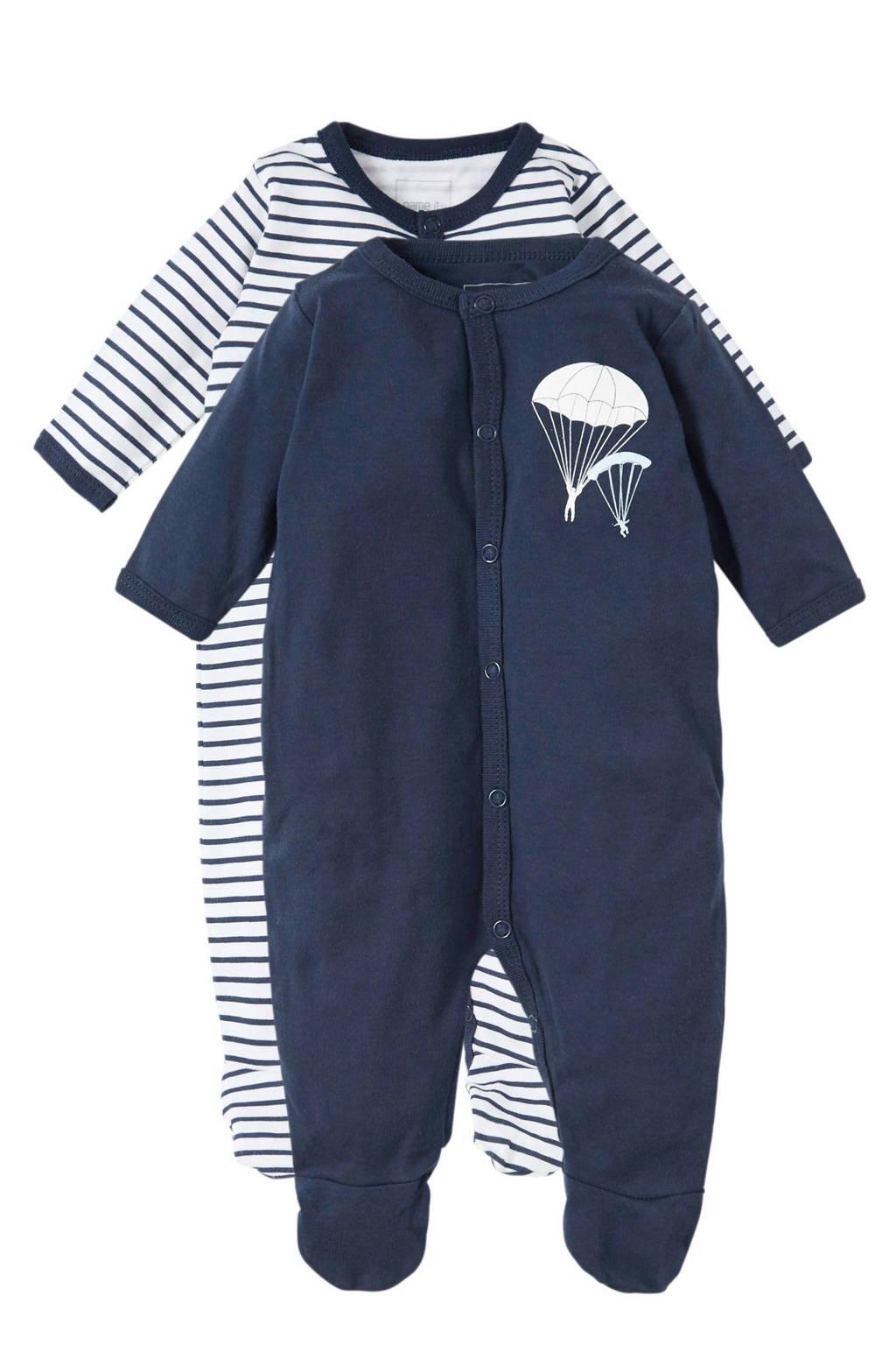 name it   baby pyjama (set van 2), Marine/wit