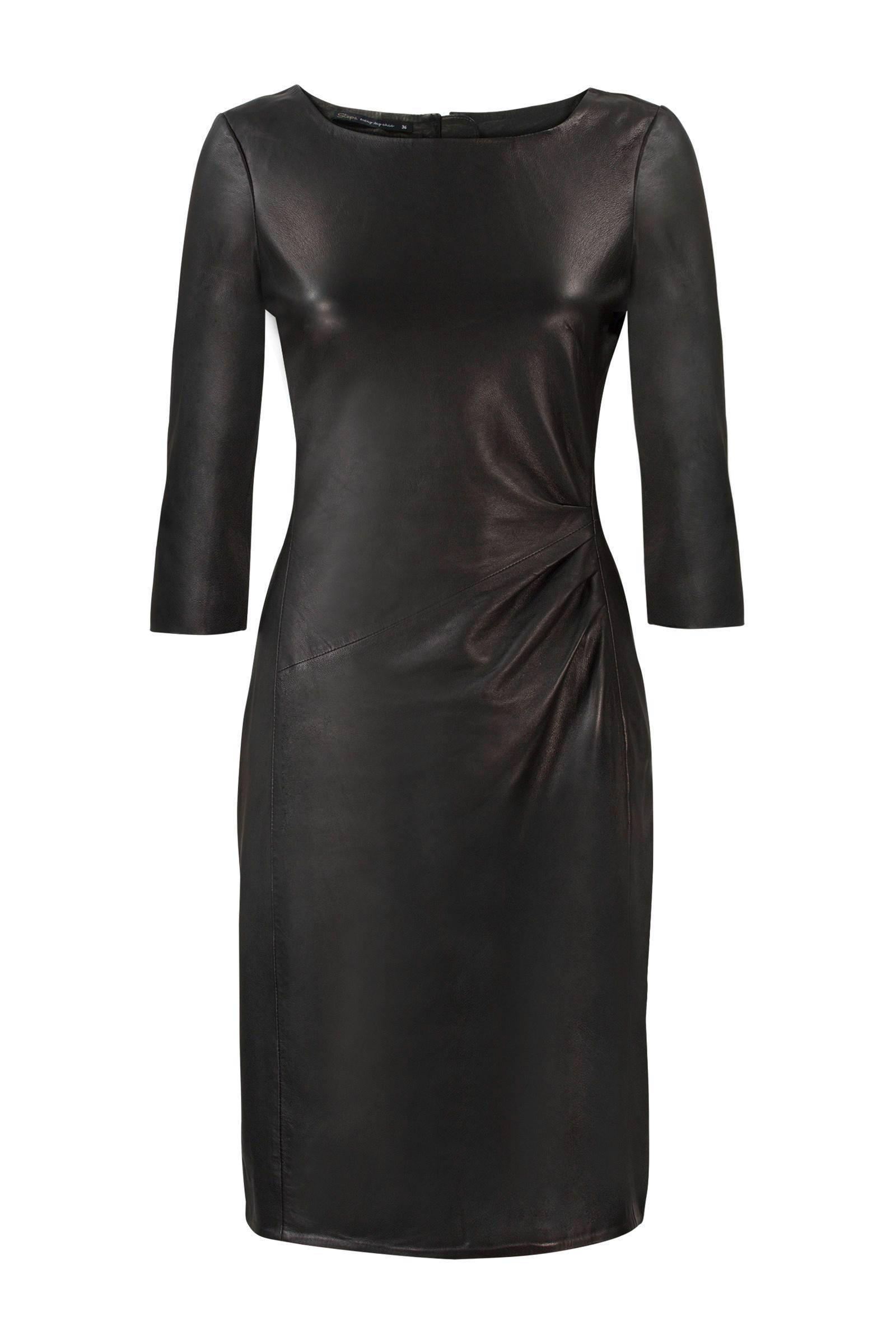 zwarte jurk met leer