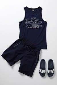 adidas Performance  Basics Adilette shower badslippers donkerblauw/wit, Blauw/wit