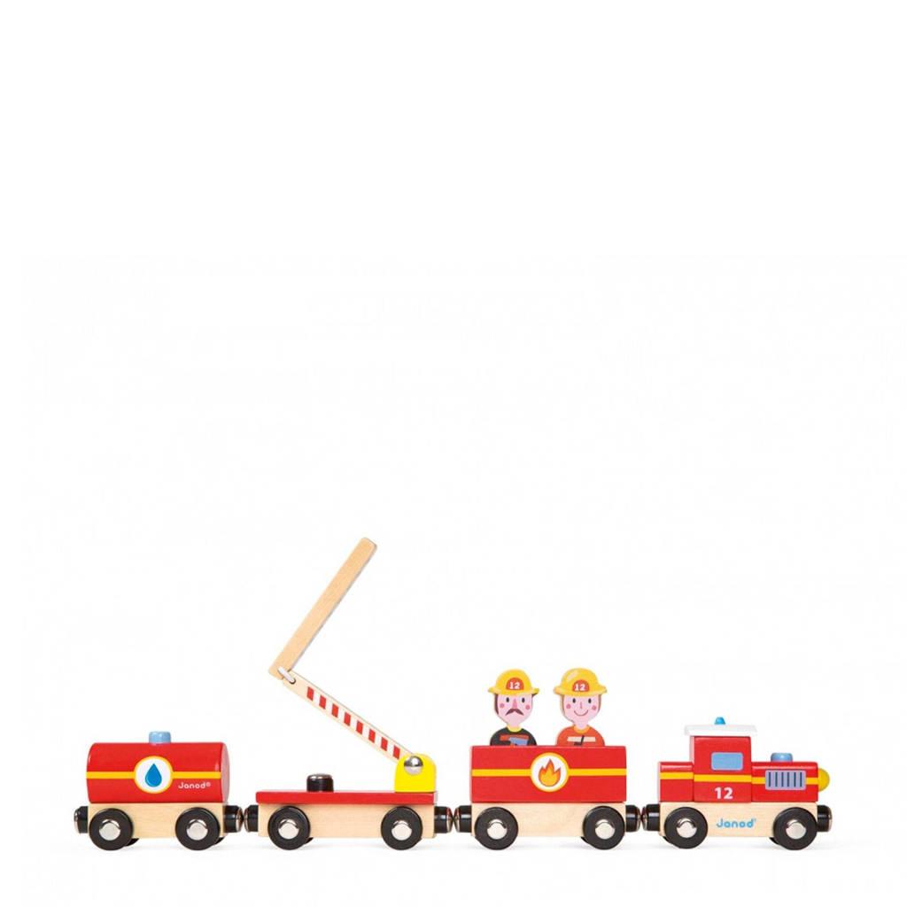 Janod houten Story trein brandweer