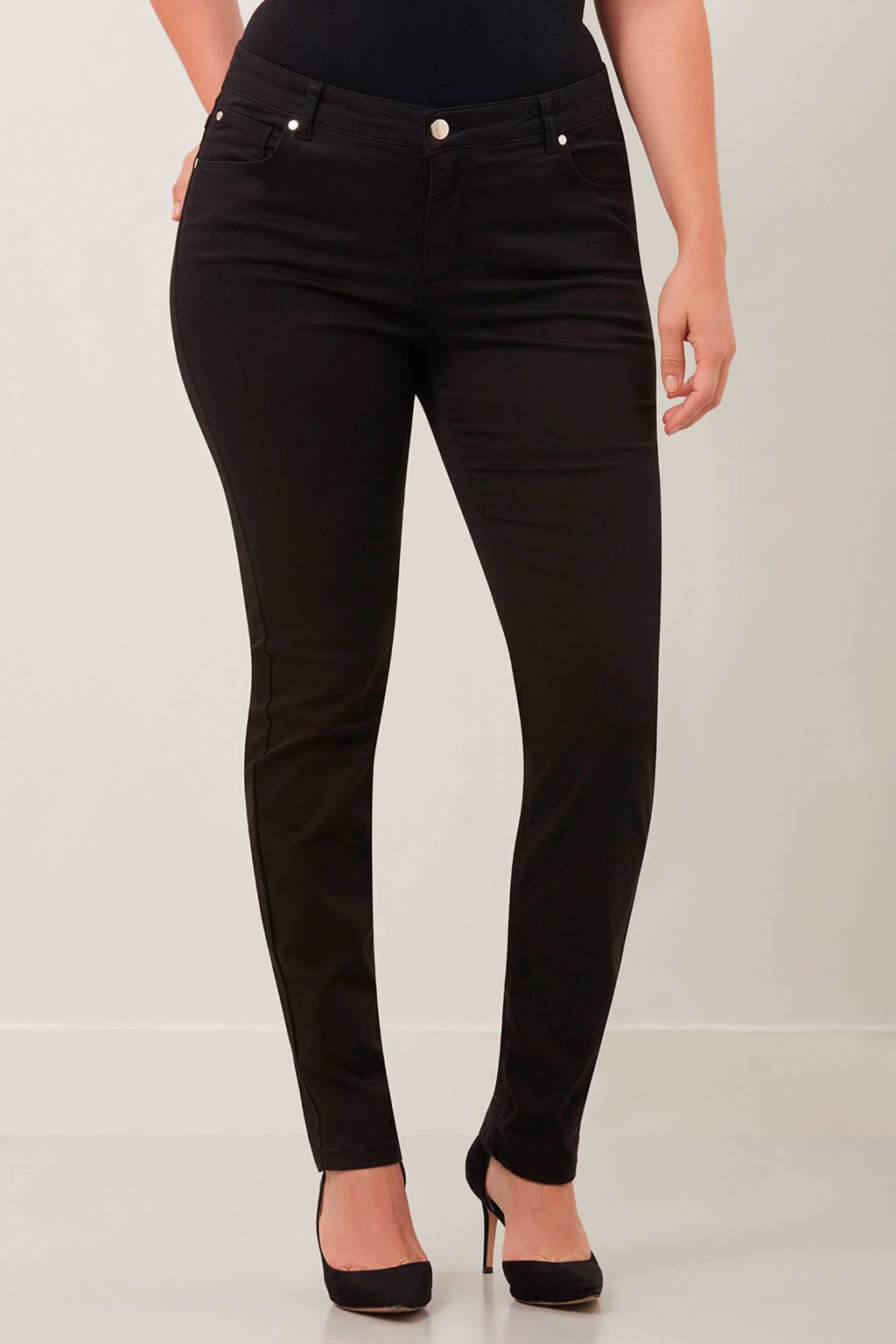 MS Mode slim fit broek, Zwart