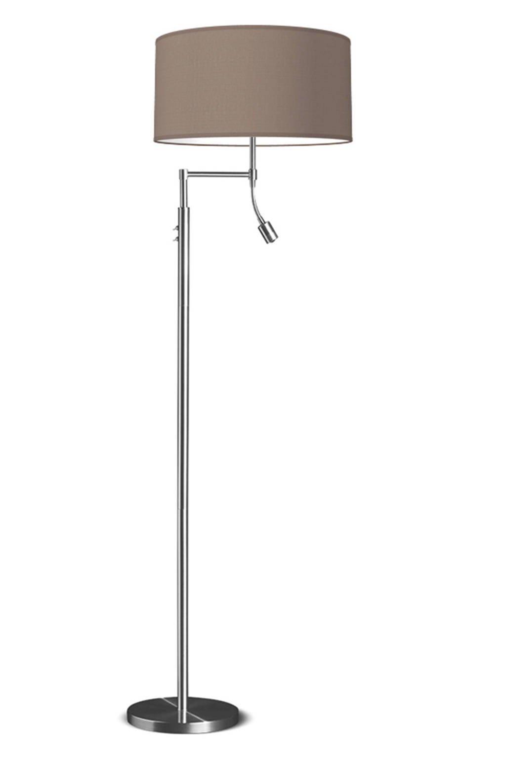 home sweet home vloerlamp (met gratis LED lamp), Taupe/zilver