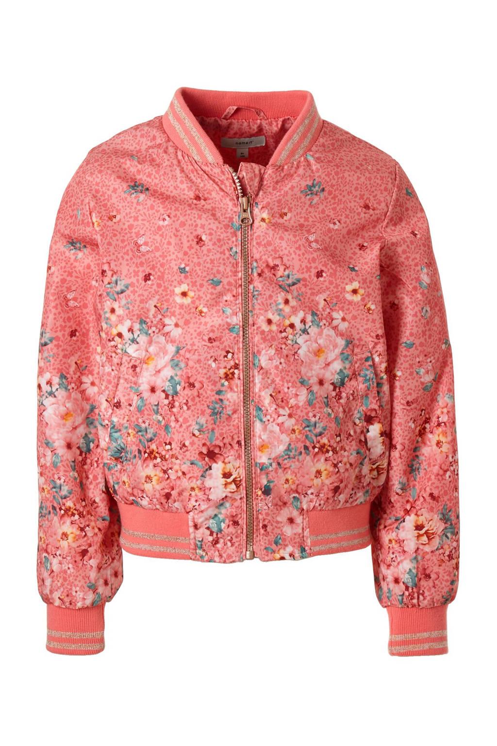 name it KIDS zomerjas met allover bloemenprint, Roze / groen / geel