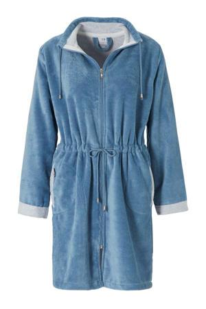 fleece badjas met ritssluiting blauw