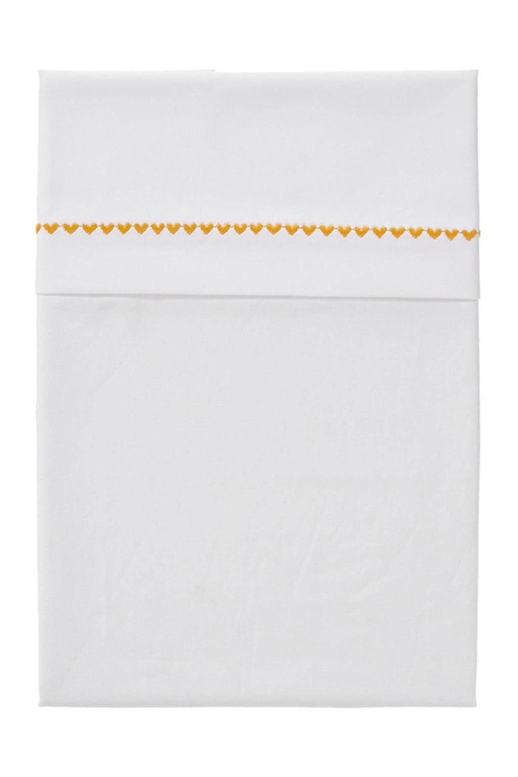 Cottonbaby Bolletjes wieglaken 75 x 90 cm wit/okergeel, 75x90