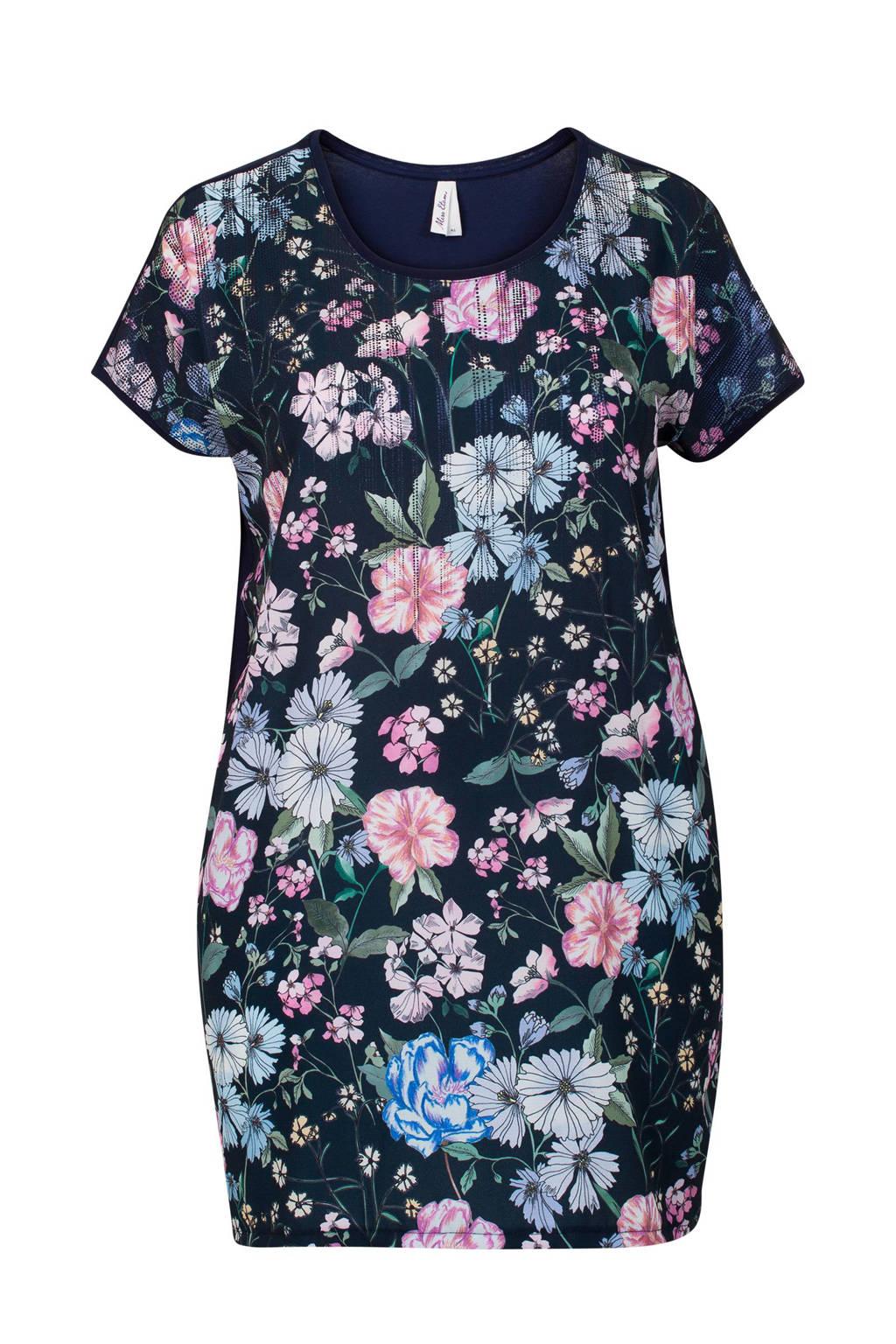 Miss Etam Plus tuniek met bloemen, Donkerblauw/roze/wit