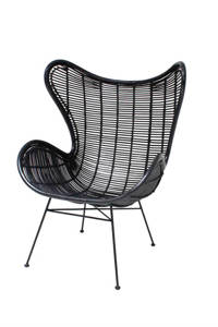 HKliving Rotan Egg fauteuil, Zwart