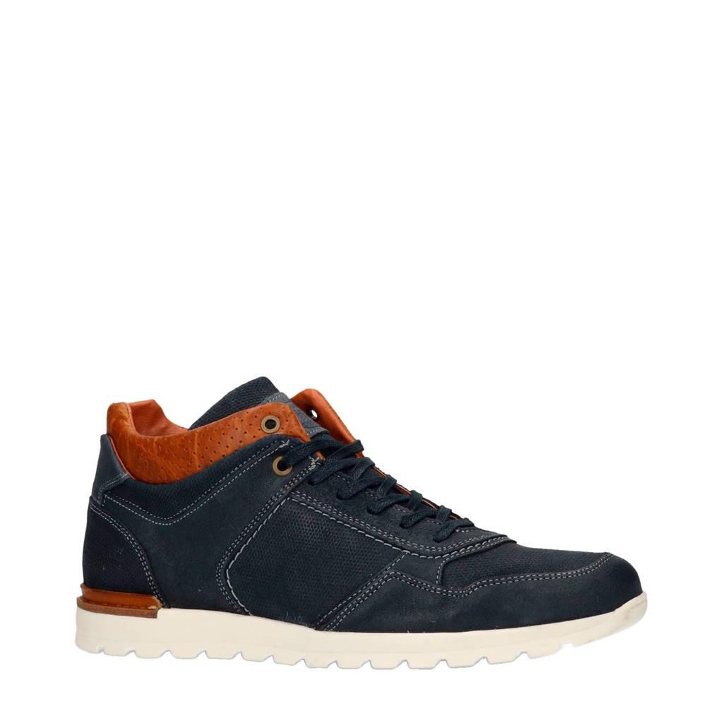 Manfield  suède sneakers blauw, Blauw/donkerblauw