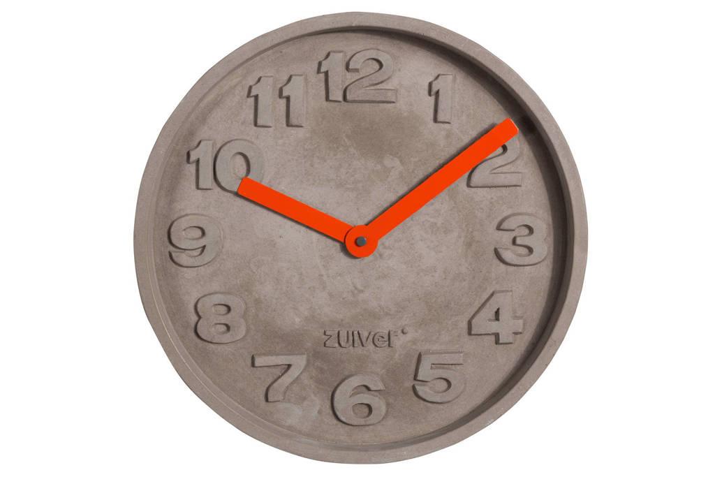 Zuiver Concrete Time klok (Ø32 cm), Oranje