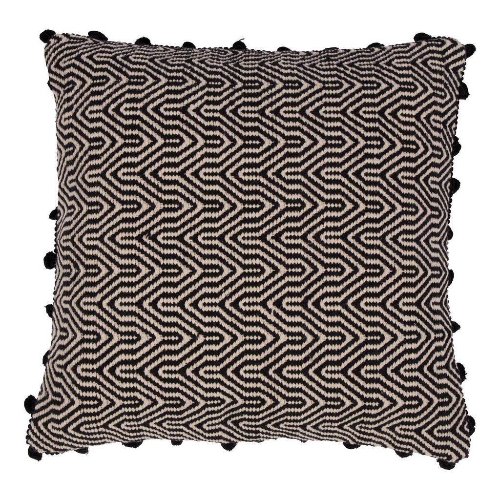 Zuiver Ziggy sierkussen (50x50 cm), Zwart/wit