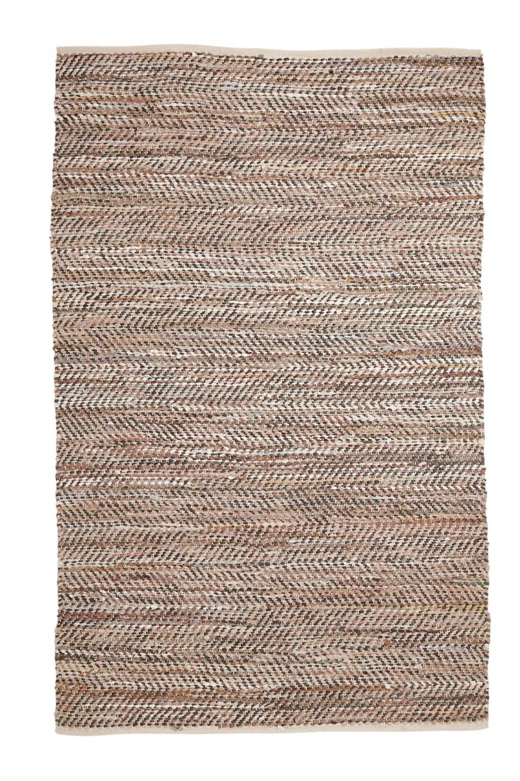 whkmp's own vloerkleed (leer)  (230x160 cm), Bruin/beige
