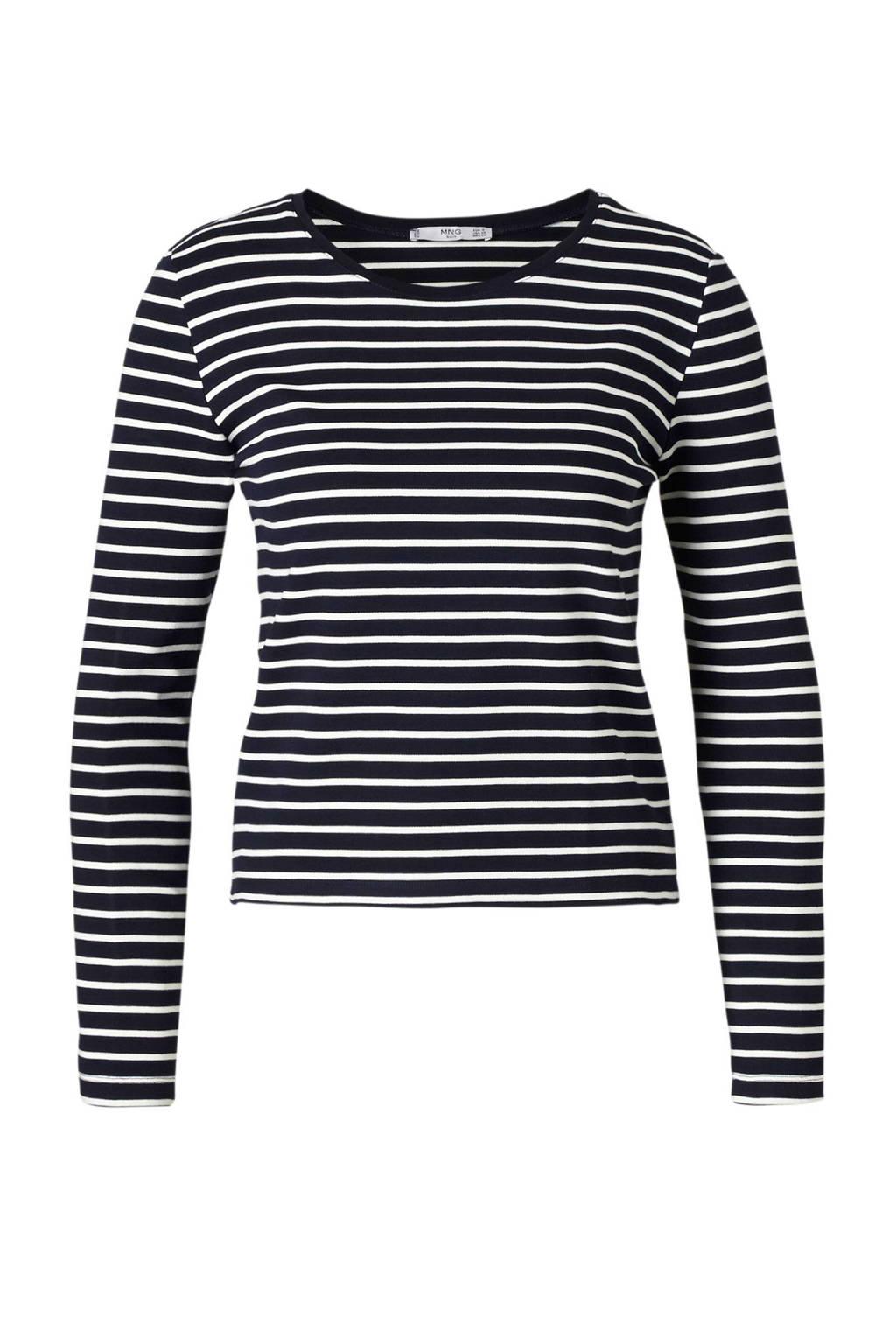 Mango T-shirt, Donkerblauw/wit
