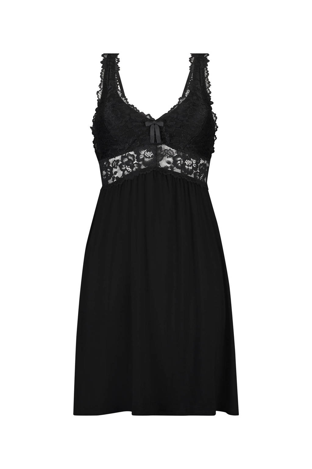 Core collection other slipdress Modal Lace zwart, Zwart
